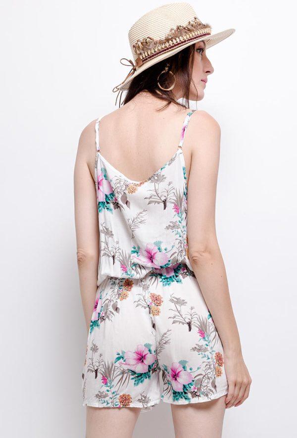 Dames-Jumpsuit-playsuit-bloemen-print spaghettibandjes-Elastiek-taille