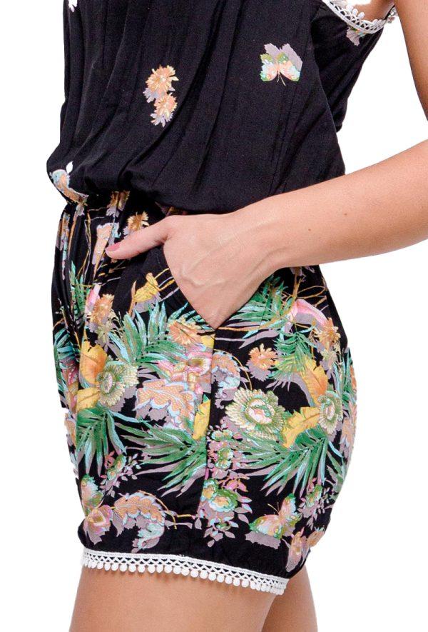 Dames-Jumpsuits-playsuit-print-spaghettibandjes-Elastiek-taille
