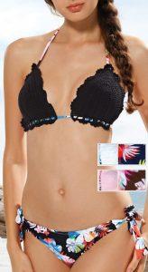 Stevige Dames bikini set met blomen-print push-up, uitneembare vulling