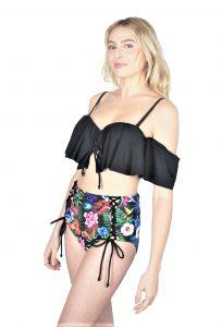 Dames ruffle-Ruches bikini set met blomen-print | uitneembare vulling
